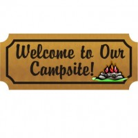 Carved Cedar Camping Sign